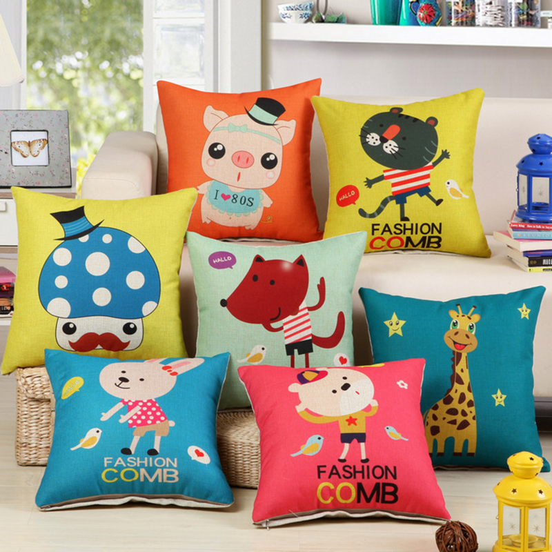 18x18inch 45*45cm Cartoon Cute Animal Print Cushions Included Fill Core Children Xmas Gift Car Chair Beds Sofa Seat Back Pillows