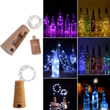 цены 2M 6.56ft 20 LED Cork Shaped Silver Copper Wire String  Fairy Light LR44 Battery Wine Bottle for Glass Craft Xmas Party Decor