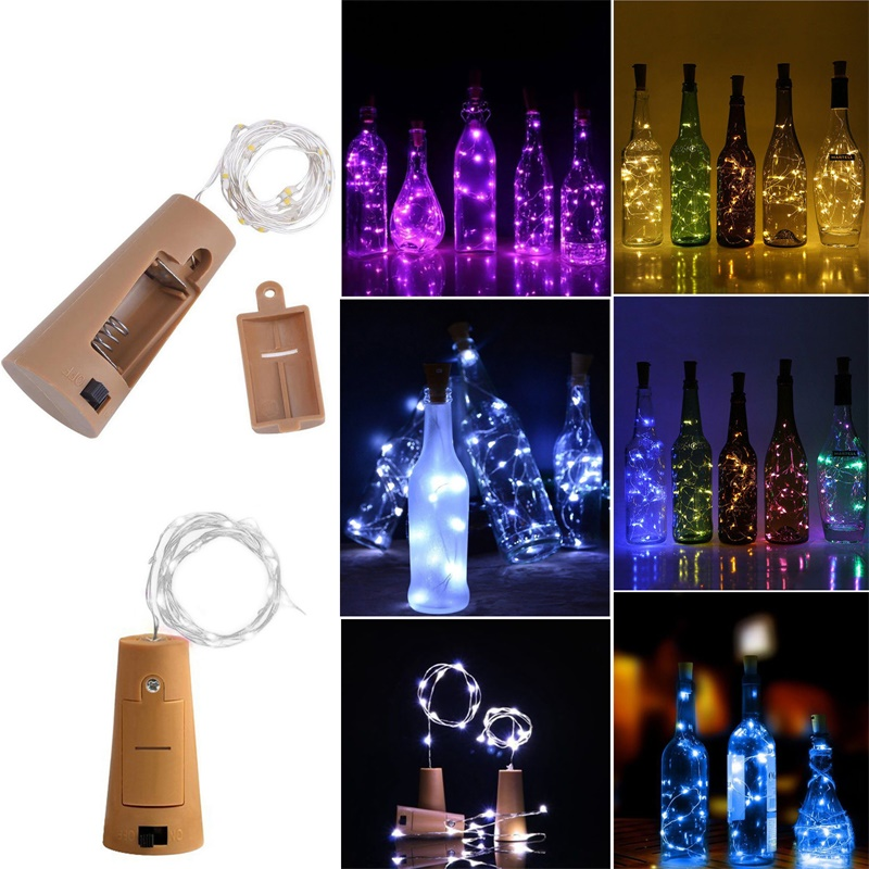 2M 6.56ft 20 LED Cork Shaped Silver Copper Wire String Fairy Light LR44 Battery Wine Bottle for Glass Craft Xmas Party Decor