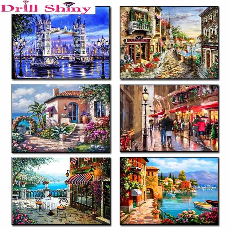 Drill Shiny Seaside House 3d Pittura Diamante Diy Paesaggio Diamante - Arti, mestieri e cucito