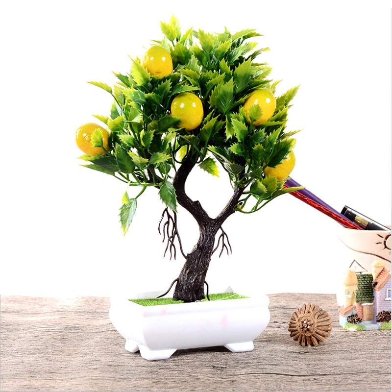 Artificial Fruit Orange Apple Lemon Tree Bonsai For Wedding Party Home Decoration Fake Green Pot Plants Flowers Ornaments