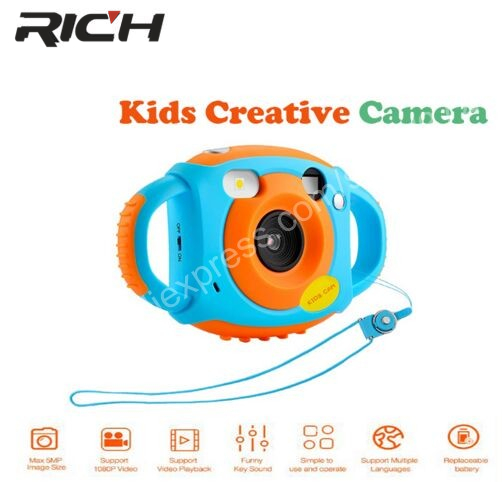 RICH Mini Digital Kids Cameras 5MP HD Projection photo Digital Portable Cute Neck Child Photography Video Camera Kids Gift -in Point & Shoot Cameras from Consumer Electronics