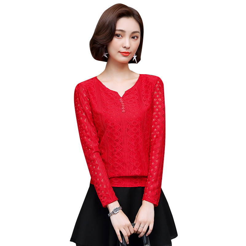 2018 Spring Women Lace   Blouse   Long Sleeve Fashion Lace Hollow Out Womens Tops and   Blouses   Casual Chiffon   Blouse     Shirt   Women Tops