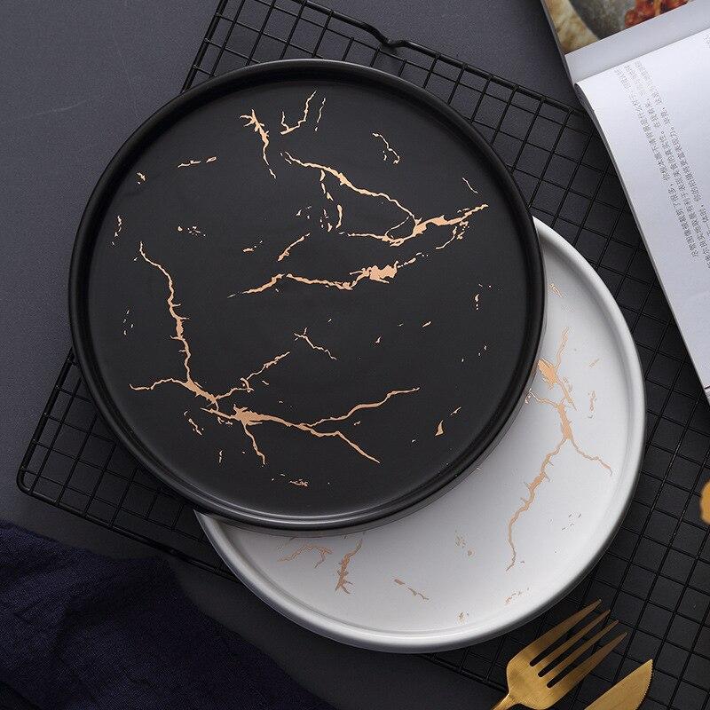 Assiette à Steak en céramique | Or noir marbre blanc de 20cm service de vaisselle en porcelaine, Table de cuisine décoration de Style européen assiette à Steak