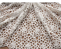 off white Crocheted Bridal Net Lace Fabric, Wedding Dress Gown Fabric with Hollowed Out Rose Pattern, 1 yard