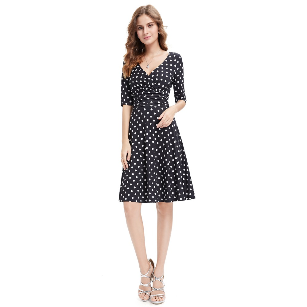 [Clearance Sale] Cocktail Dot Dresses New Arrival Short Sleeve V neck Vestito A line Cheap Spring Party Dresses for Women