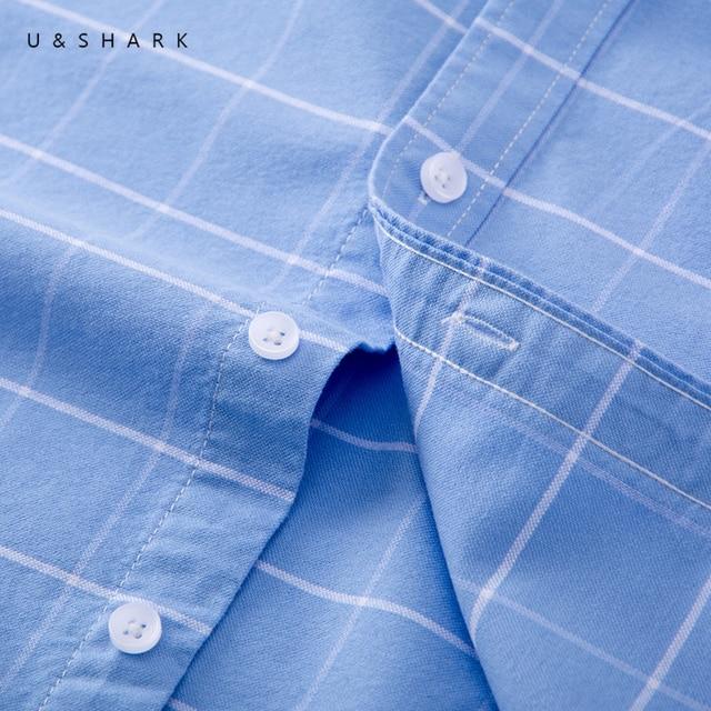 U&SHARK Men Oxford Casual Shirt Long Sleeve Slim Fit Comfortable Plaid Shirt 100% Cotton Mens Dress Shirts Brand Clothing Male 2