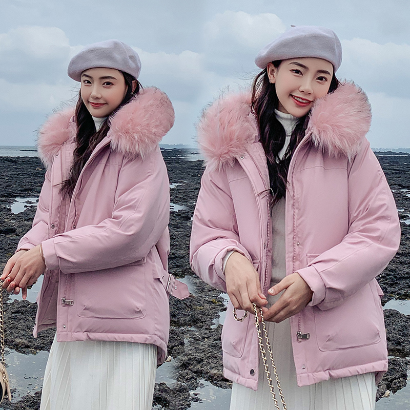 Brieuces Faux Fur Collar Short   Parkas   Loose Down Cotton Coats Winter Women Hooded Jackets Pink Black Snow Outwear