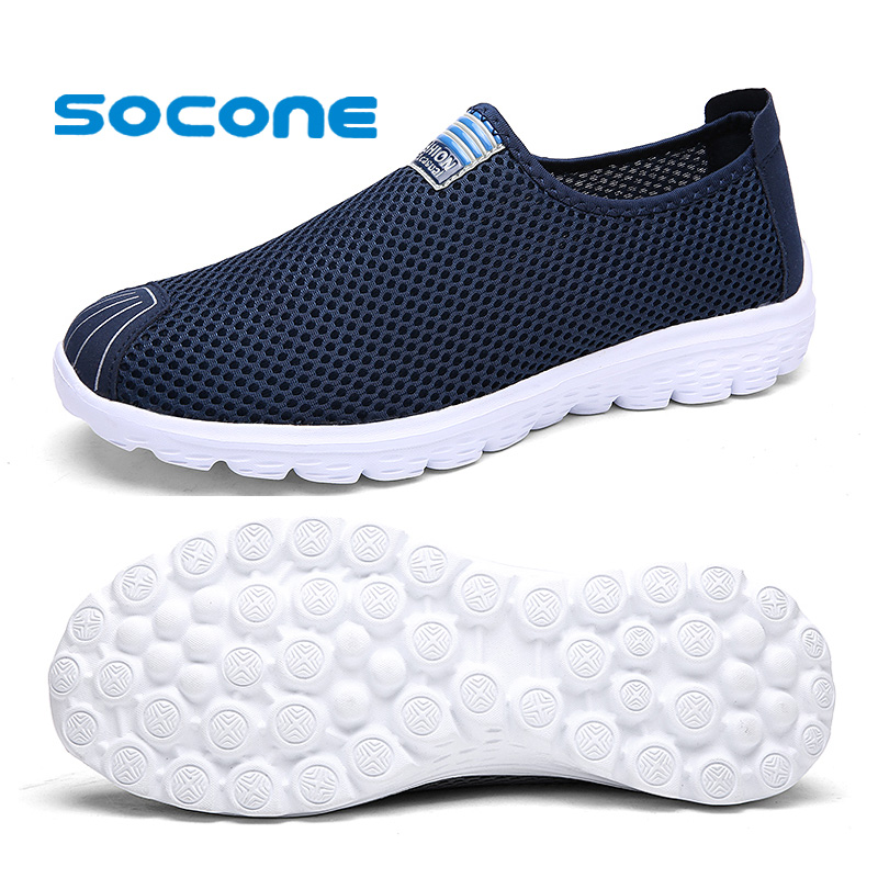 Socone Comfort Men&Women Walking Shoes Breathable Sport Sneaker New Slip On Summer Mesh Shoes Ladies Outdoor Water Shoes for Men 2018 merrto womens walking shoes non slip breathable outdoor sport shoes for women color red purple grey free shipping mt18631