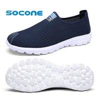Socone Comfort Mens Womens Walking Shoes Fashion Sport Sneaker 2016 Slip On Summer Mesh Shoes Ladies