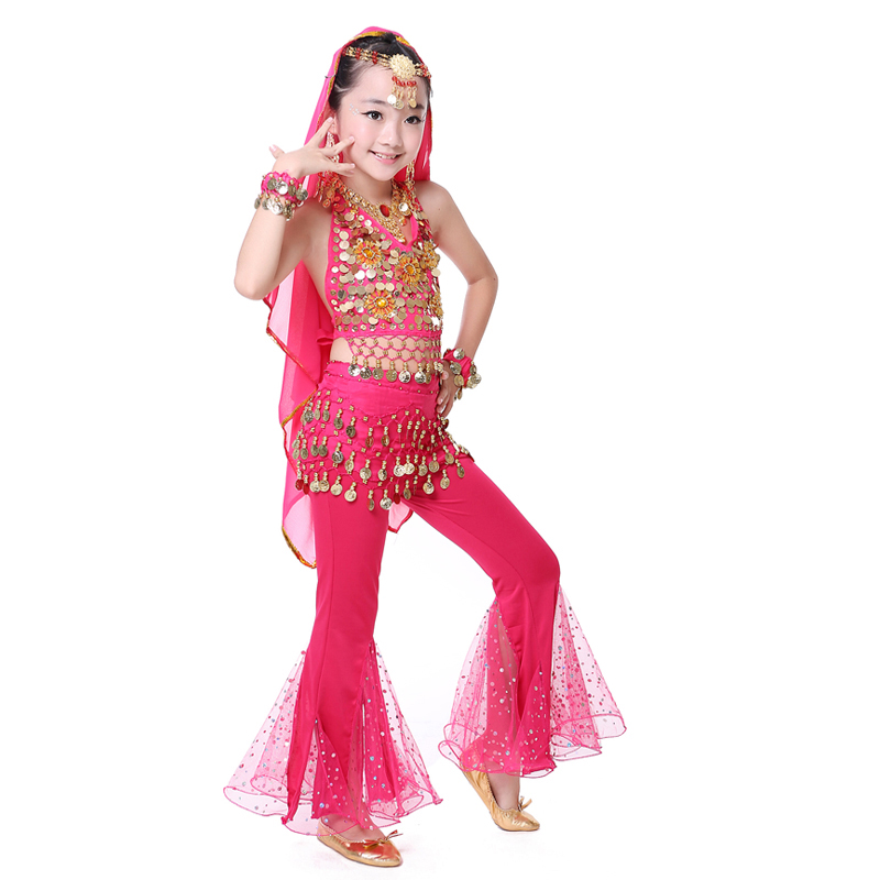 Hot Arab Sexy Indian Children Belly Dance Costume Red Yellow Rose Topspants 2 Pcs Set -3382