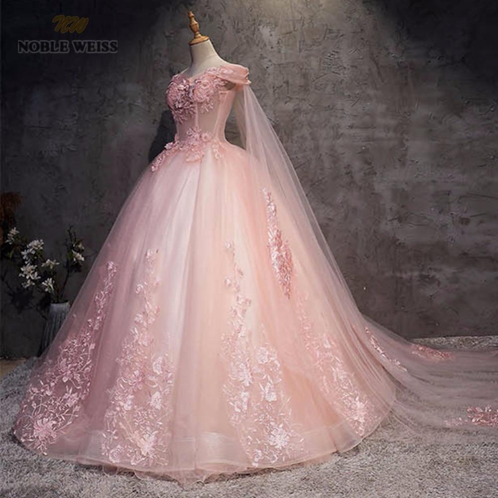 NOBLE WEISS robe de bal Quinceanera robes de haute qualité Appliques perles longueur plancher rose Tulle Sexy formelle robe de bal - 3
