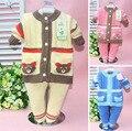 Розничная 2017 весна осень зима дети устанавливает костюм новый стиль детские мальчик девочка набор 2 шт. комплект одежды вязать свитер 6-24 М размер