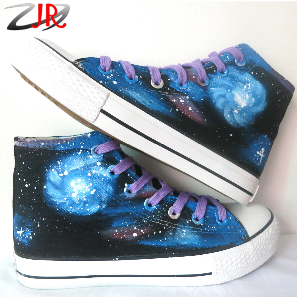 ФОТО YJR Hand Painted Hand Drawn Stunning Galaxy Casual Shoes Canvas Starry Sky Shoe Galaxy Flat Shoes