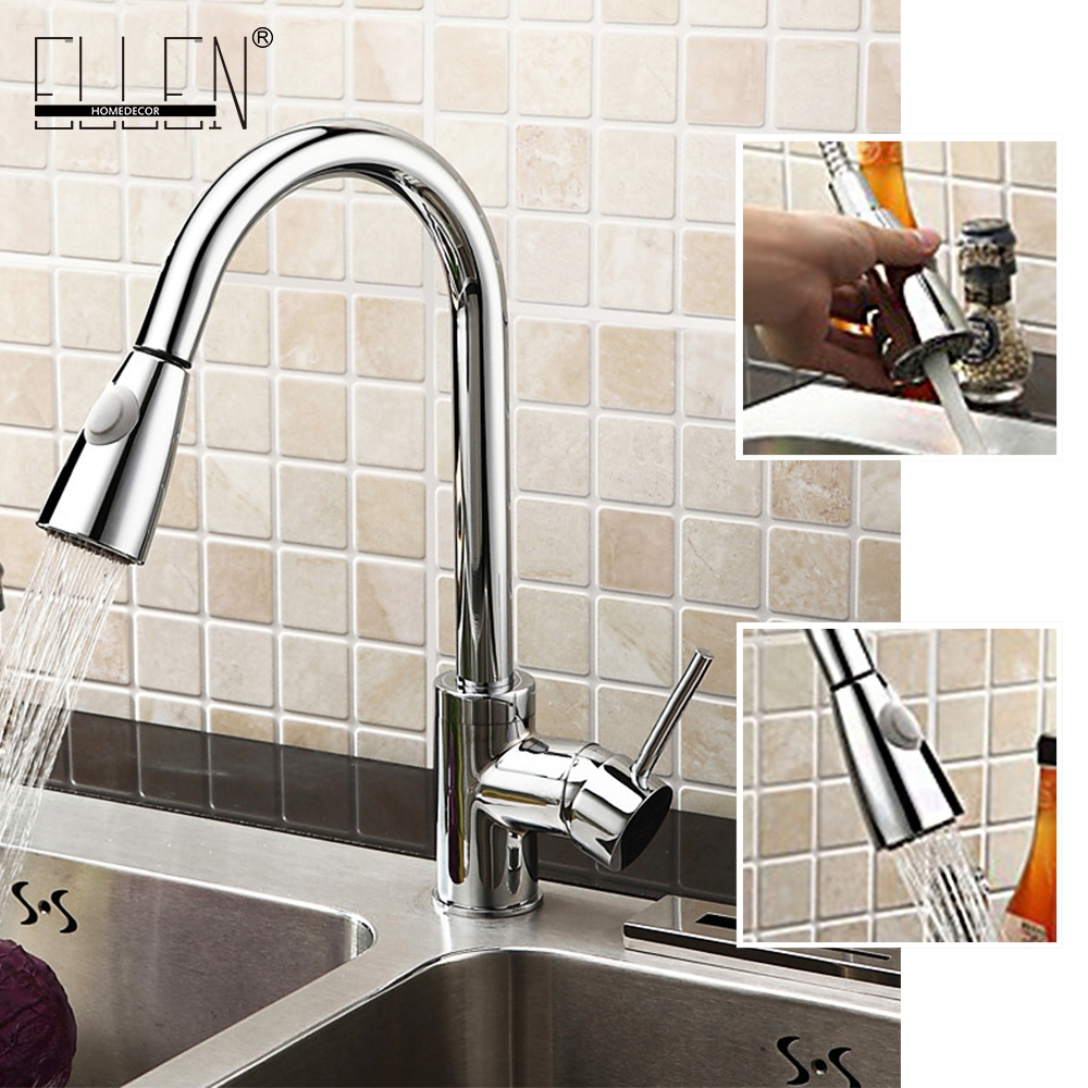 Solid Brass Pull Down and Pull Out Kitchen Faucet With Spray