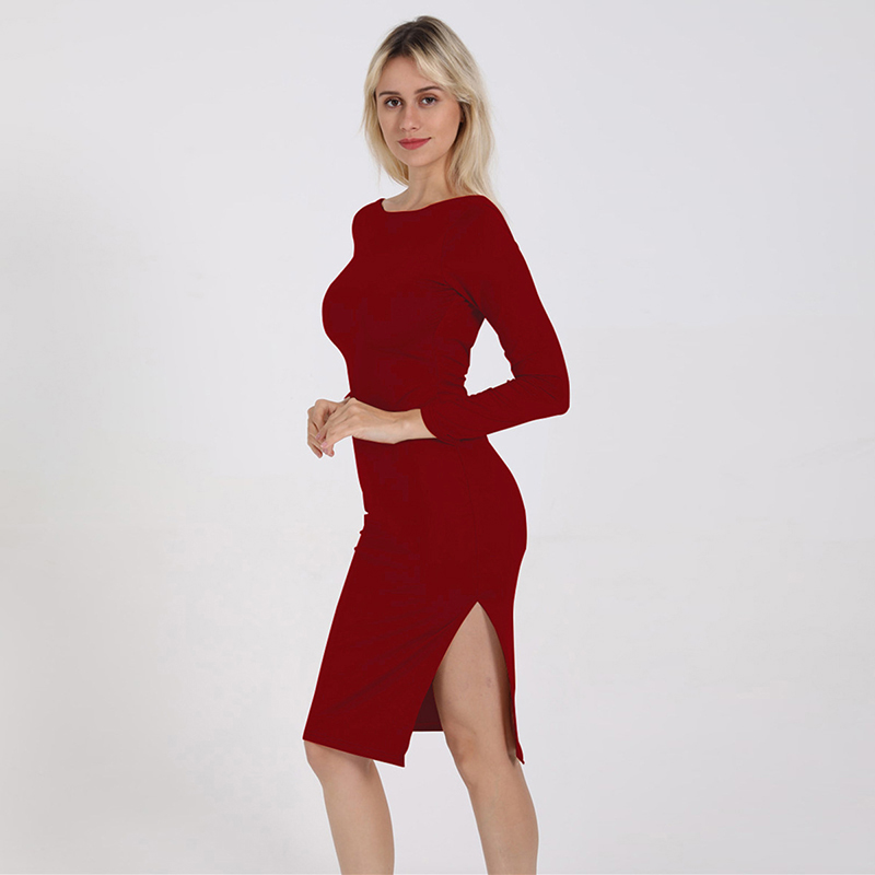 2019 New Arrival Women Sexy Solid Color O Neck Long Sleeve Backless Female Causal Split Sexy Bodycon Dress
