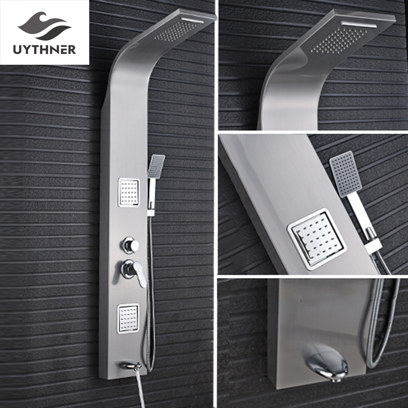 Uythner Free Shipping Stainless Steel Rainfall Waterfall Shower Panel Massage System Brushed Nickel Finish