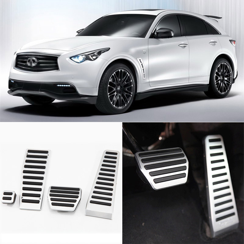 Brand New 4pcs Aluminium Non Slip Foot Rest Fuel Gas Brake Pedal Cover For Infiniti FX AT 2008-2013 brand new 3pcs aluminium non slip foot rest fuel gas brake pedal cover for audi q3 at 2013 2016