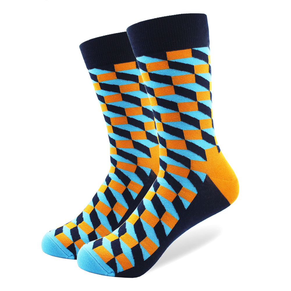2018 New Arrival Mens filled Optic Puzzle Funny Combed Cotton Socks Casual Colorful Crew Happy Socks Wedding Gift