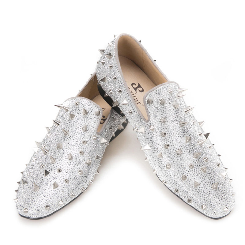 Loafers Spikes Wedding-Party-Shoes Glitter-Leather Silver Men's Luxury And Gold Handcrafted