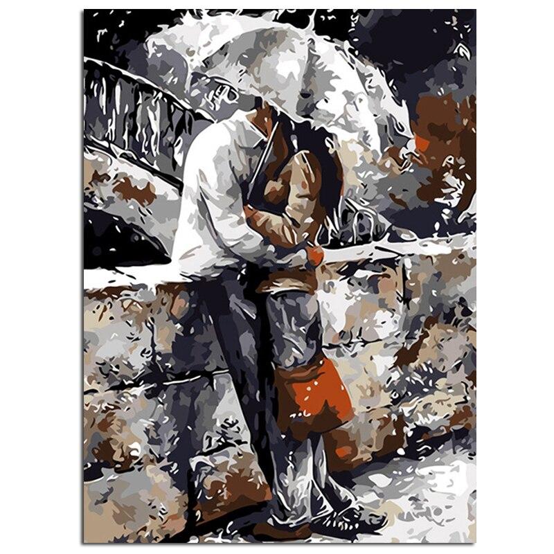 """""""abbraccio Sotto La Pioggia"""" Pittura Di Diy Dai Numeri Immagine Da Numeri Pittura A Olio Digitale Di Arte Della Parete Complementi Arredo Casa Immagine Fatti A Mano Luminoso E Traslucido Nell'Apparenza"""