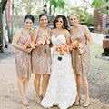 Gold Sequin Bridesmaid Dress Plus Size Maid of Honor Dresses for Weddings Party Gown Vestido de festa curto 2016 Women