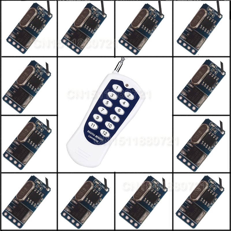 DC3.5V-12V 12PCS Mini Receiver For LED Lamp Light Micro Remote Control Switch Mini Lighting Wireless Controller RF TX RX