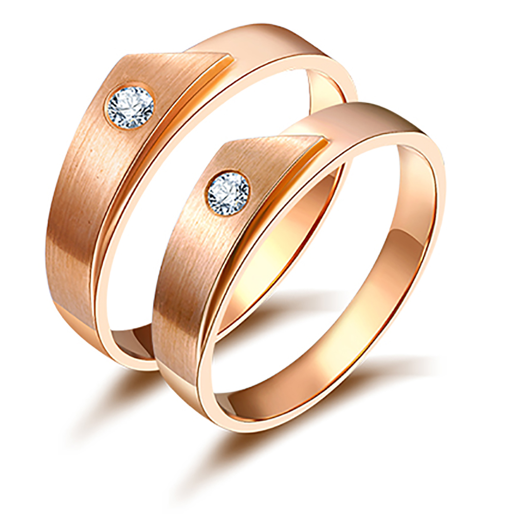 Engagement Rings For Couples: 18K Rose Gold Romantic Couple Ring Diamond Wedding Ring