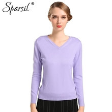 New Sweater Women Spring Knitted Thin Pullovers Long Sleeve V Neck Slim Knitwear Summer Style Knitted
