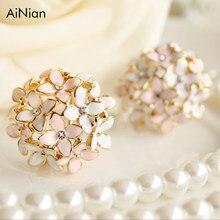 822539274e6e Ainian Pendientes de broche para mujer 2017 Boucle d oreille cristal flor  Clover pendiente oro bijoux brincos Mujer
