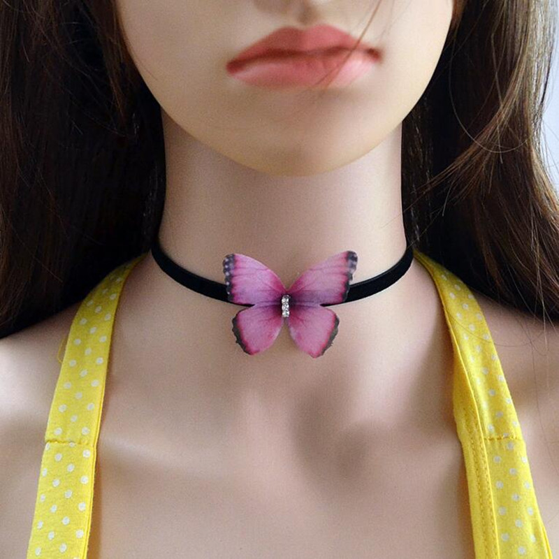 Black Velvet Flannel Cloth Butterfly crystal Chokers Necklaces for Women Fashion Short Chocker Collares Jewelry ras du cou