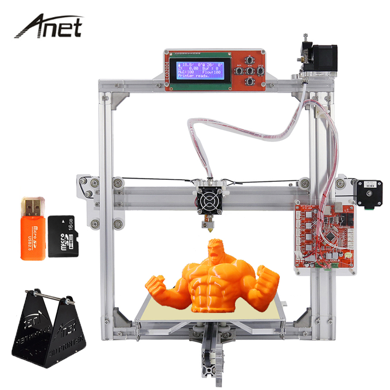 Anet High Precision Aluminum Frame 3D Printer Large Print Size 220*220*220mm/220*270*220mm DIY 3D Printer Kit With Filament anet e10 easy assembler 3d printer reprap prusa i3 aluminum frame diy 220 270 300mm large print size with filament sd card