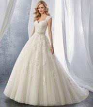 Robe de Mariage Pleated Tulle Waist Bruidsjurken Vestido de Noiva A-Line Vintage Wedding Dress Lace Appliques Bridal Gowns 2017