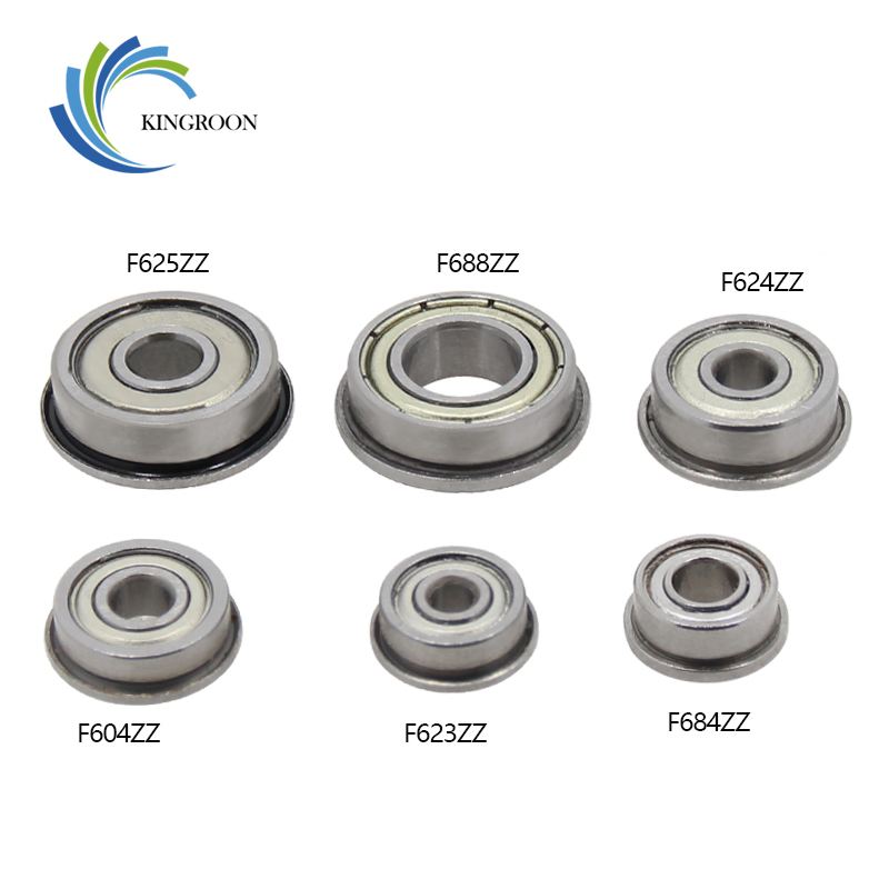 10pcs Flange Ball Bearings F604ZZ F623ZZ F624ZZ F625ZZ F684ZZ F688ZZ 3D Printers Parts Deep Groove Pulley Wheel Aluminium Part