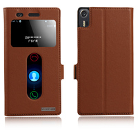 Top Quality Natural Genuine Leather Smart Window Flip Stand Cover Case For Lenovo Vibe Shot Z90