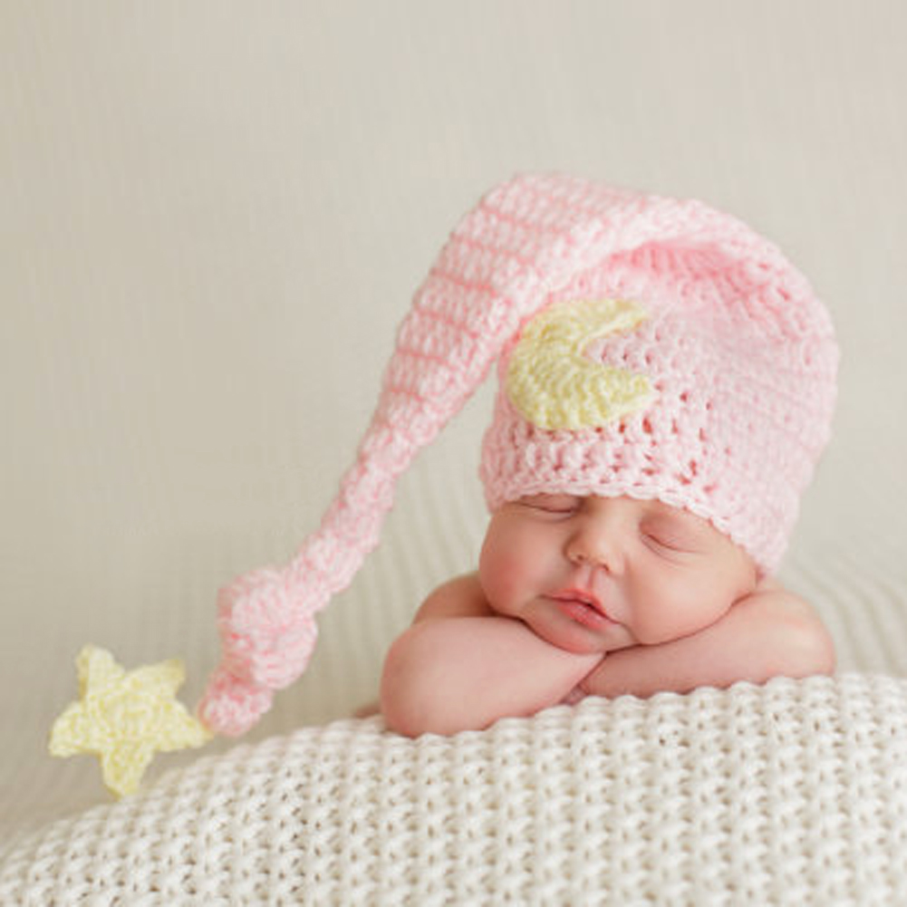 Lovely Pink Hats Baby Handmade Beanies Costume Knitted Newborn Long Tail Crochet Photography Props Newborn Hat 0-4months