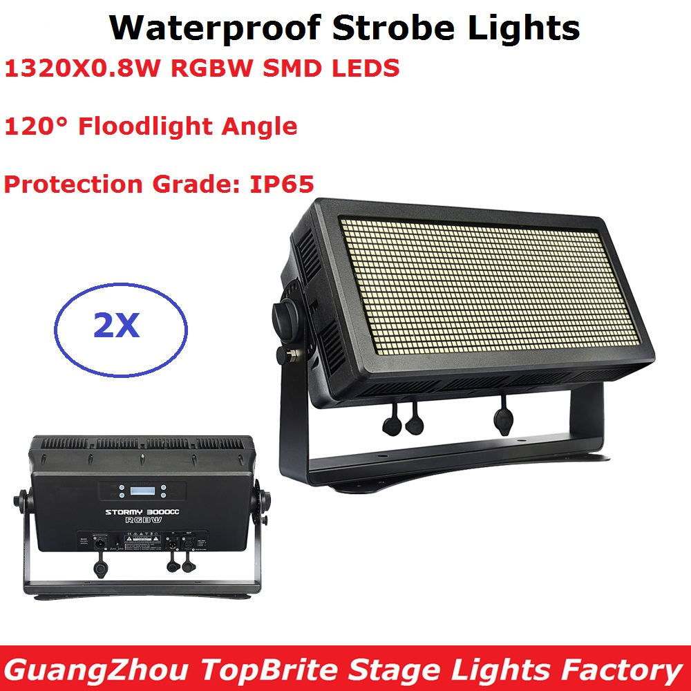 2Pcs/Lot Outdoor Strobe Lights 1000W RGBW 4IN1 LED Waterproof Strobe Lights IP65 Perfect For Party Bar Light DMX Flash Lights