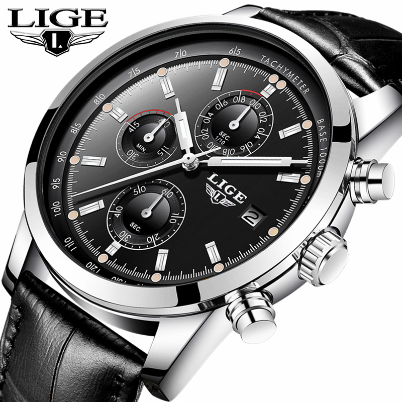 LIGE Fashion Mens Watches Top Brand Luxury Business Casual Quartz Watch Men Leather Waterproof Sports Watches Relogio Masculino baosaili fashion casual mens watches top brand luxury leather business quartz watch men wristwatch relogio masculino bs1038
