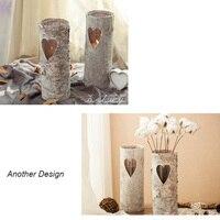 A árvore de vidoeiro desktop suporte de vela vaso de flor vasos de flores plantadores vasos da pele pele de madeira decoração retro projeto windlight