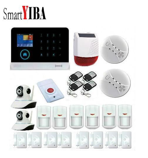 SmartYIBA Touch Key 3G Wireless Intruder Alarm Surveillance Cameras+Strobe Solar Siren+Panic Button For WIFI Home Alarm Kits