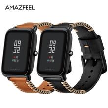 20mm Leather Strap for Xiaomi Huami Amazfit Bip BIT Smart Watch Bracelet for Xiaomi Amazfit Band Strap Genuine Leather Belt