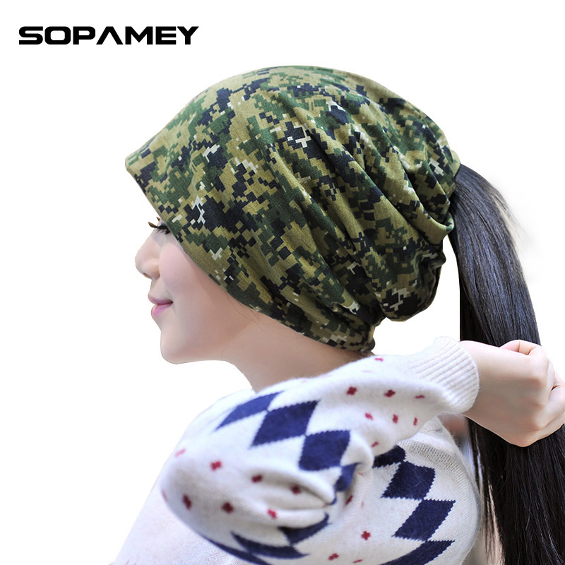Brand Camouflage Skullies Beanies Autumn Winter Warm Hats Knitting Women Men Cap Wool Solid Elastic Beanie Hedging Hat Wholesale skullies