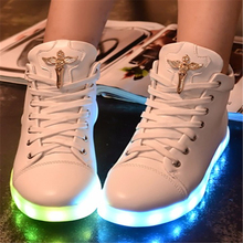 2016 brand 7colour glow Casual shoes high help diamond fluorescence luminous led lights usb charging for women's shoes Size35-40