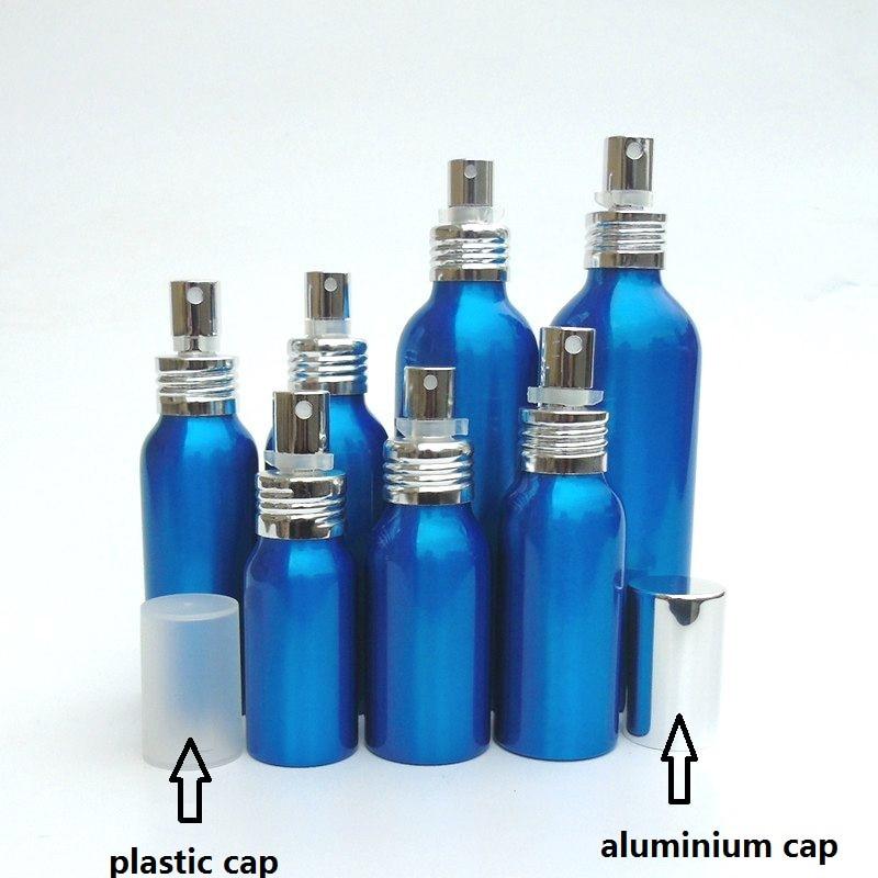 20-50pcs 30-500ml blue Aluminum empty spray bottle plastic cap Fine Mist Refill cosmetic spray jar Sample subpackage travel