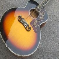 Ушка Древо жизни вставками KPG200 акустической гитары, Массив ели наверху, 43 дюймов Пламя клен тело электрический акустической гитары, Бесплат