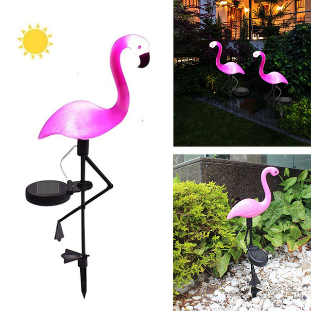 Outdoor Solar Garden Light Flamingo Shape Waterproof Lawn Lamps Stake Lamp Home Yard Ornaments Pathway