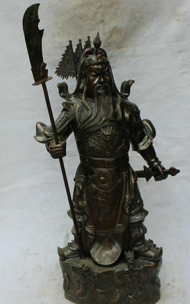 JP S62 36 China Bronze Folk stand Dragon Guan Gong Yu Warrior God font b knife