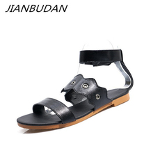 JIANBUDAN Summer womens casual flat sandals Romanesque fashion Pu leather Open Toe Outdoor 34-43 size