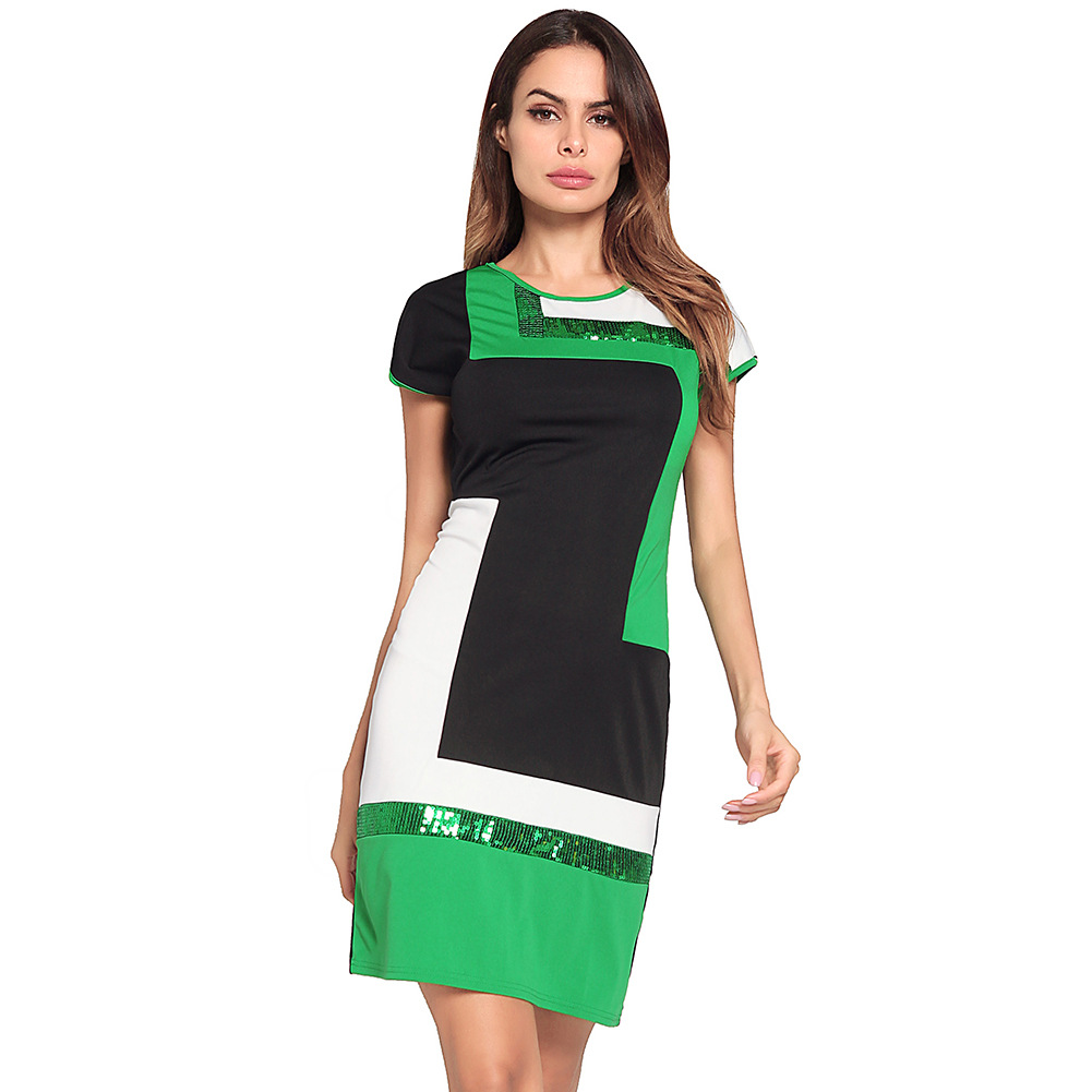 cross-border exclusively for womens short sleeve cultivate morality render a few he liang pencil dress one pace