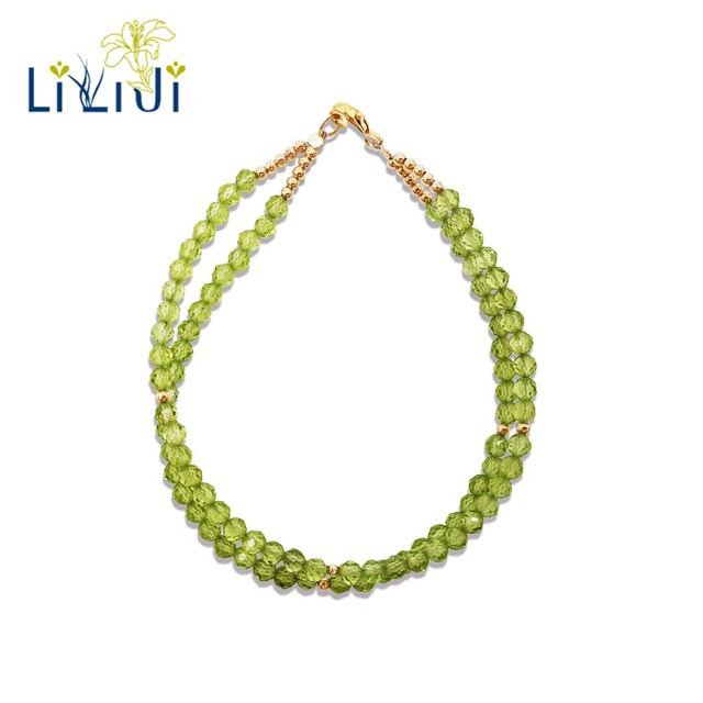LiiJi UniqueNatural Stone Green Peridots 925 Sterling Silver Gold Color/Goldfilled Bracelet